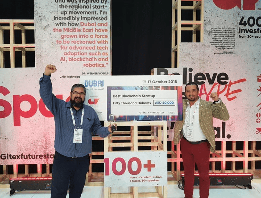 "Mimirium won the ""Best Blockchain Startup"" award at GITEX FutureStars in Dubai."
